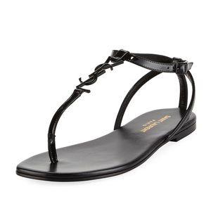 Saint Laurent Monogram Black Flat Thong Sandal